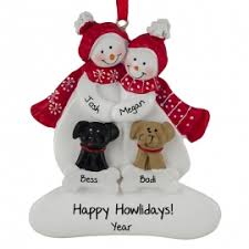 snow 2 dogs ornament personalized ornaments