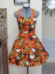 beautiful fall thanksgiving apron with pumpkins and sunflowers and a