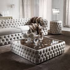 Nubuck Leather Sofa Modern Button Upholstered Nubuck Leather Square Coffee Table