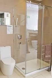 Glass Shower Door Ideas by Glass Shower Enclosure Beside Ceramic Water Closet Below Frameless