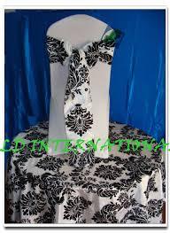 Wedding Chair Sash White U0026 Black Flocking Chair Sash For Wedding Chair Cover Wed Direct