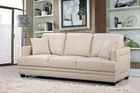 Silver Leather Sofa by Opulent Beige Leather Sofa With Silver Nail Head Design
