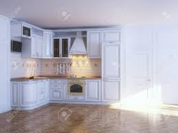 Classic White Interior Design Classic Kitchen Cabinets In New White Interior With Parquet Stock