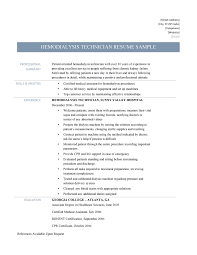 Patient Care Technician Resume Sample by Dialysis Technician Resume Resume For Your Job Application
