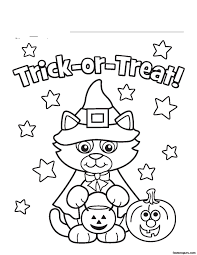 funny halloween cat and bats coloring pages for kids pumpkin in