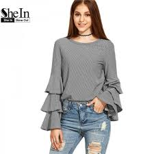 summer blouses shein casual tops blouses autumn summer flare sleeve