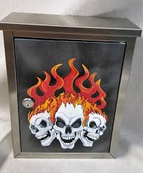 Wall Mount Mailbox With Flag Mailboxes Hand Painted Stainless Steel Skull With Flames Flames