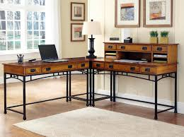 sleek hardwood brown corner desk ideas with ample built in shelves
