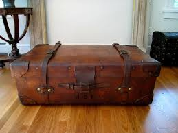 antique leather travel trunk c 1890 coffee table size gorgeous