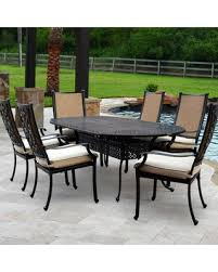 Lakeview Patio Furniture by Deals On Bocage 7 Piece Cast Aluminum Sling Patio Dining Set W 84