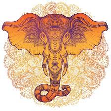 beautiful tribal style elephant mandala colorful