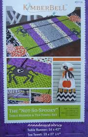 halloween tea towels halloween table runner pattern not so spooky kd114 kimberbell