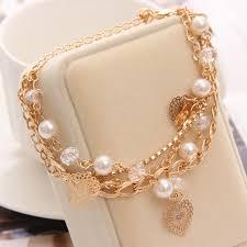 beaded heart bracelet images Buy golden plated link chain cute heart bracelet jpg