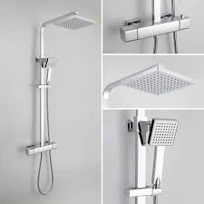 lynx square thermostatic shower valve mixer set dual head cool