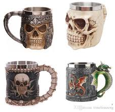 Fancy Coffee Mugs Personalized Double Wall Stainless Steel 3d Skull Mugs Coffee Cup