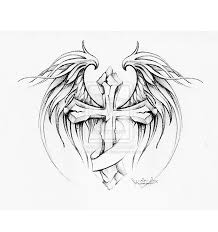 cross tattoos and design on with wings and
