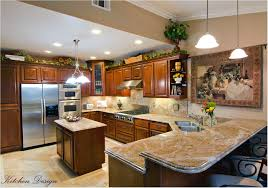 beautiful modern luxury kitchen with granite countertop on house