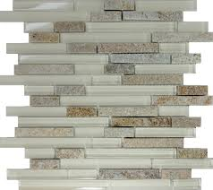 Stone Kitchen Backsplash Sample Cream Beige Glass Natural Stone Linear Mosaic Tile Kitchen