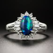 turquoise opal engagement rings platinum black opal and diamond ring