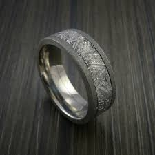 titanium wedding band gibeon meteorite in titanium wedding band made to any sizing and