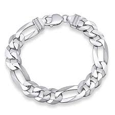silver chain bracelet men images Silver bracelet men 925 sterling silver chain figaro wide 13 mm jpg
