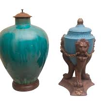 decorative urns pair of blue decorative urns ebth