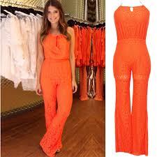 womens pant jumpsuit fashion orange rompers jumpsuits lace jumpsuit