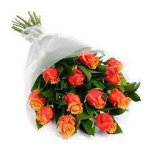 orange roses 12 orange roses wrapped dozen wrapped orange roses