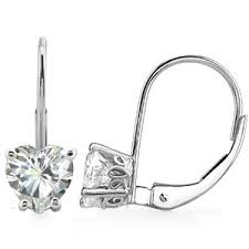 leverback earrings heart moissanite scroll leverback earrings moissaniteco