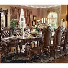 double pedestal dining room table 62000 vendome dining table with double pedestal in cherry by acme
