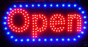led neon light open sign with animation on and