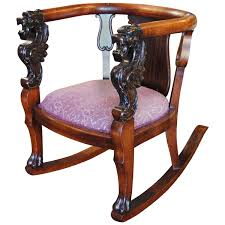 Rocking Chair Teak Wood Rocking Antique Wood Rocking Chair Carved Griffin Lion Dragon At 1stdibs
