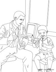 dentist and kid in the dental surgery coloring pages hellokids com