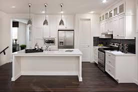 Hardwood Floor Kitchen by Elegant Style Informs This Bold White Kitchen With Near Black