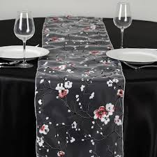 Cherry Decorations For Home by White Sheer Organza Runner With Cherry Blossom Design For Table