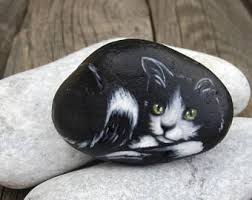 cat painted rock stone your pet home decor painted stone