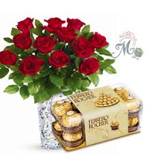 roses for sale roses in a vase with ferrero rocher chocolate box maveli gift