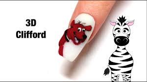 3d clifford the big acrylic nail tutorial