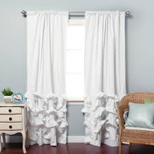Burlap Ruffle Curtain Decorating White Ruffle Light Blocking Curtains For Home