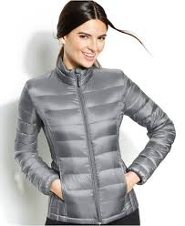 32 degrees hooded packable down puffer jacket in gray lyst