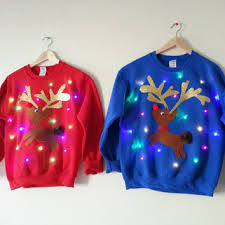 Ugly Christmas Sweater With Lights Couple U0027s Light Up Ugly Christmas Sweaters Rudolph And Clarice