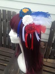 white and blue headband white blue acadian day paper flowers patriotic headband with
