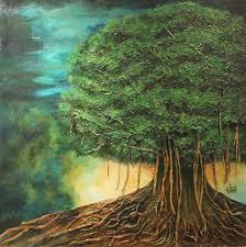 banyan tree by artist usha elangovan impressionism painting