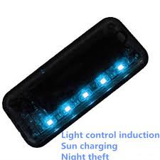 security led lights car auto anti theft fake simulated solar vibration 6 blue leds light car