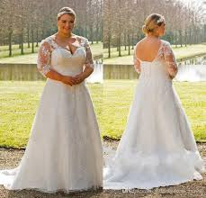 discount vintage plus size wedding dresses 2017 v neck sheer half