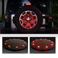 jeep wrangler third brake light red light spare wheel tire cover led third brake light for jeep