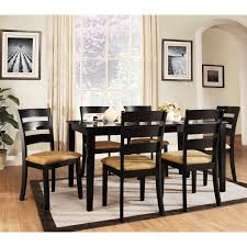 weston home tibalt 7 piece rectangle black dining table set 60