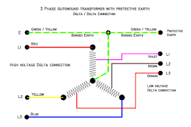 3 phase autowound transformer with protective earth delta delta