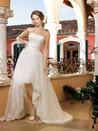 high wedding dress strapless satin and tulle high low wedding dress with belt