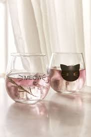 meow stemless wine glass set of 2 urban outfitters